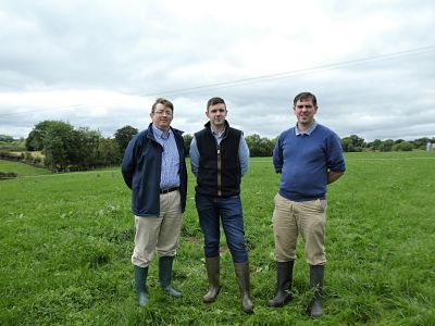 Jason Rankin (AgriSearch), Andrew Clarke (Foyle Meats) and Francis Lively (AFBI) discussing the upcoming GrassCheck farm walk at Wayne Acheson's farm.