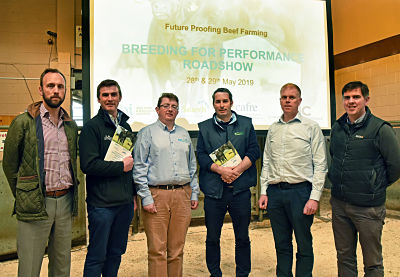 "Speakers and organisers of the recent ""Breeding for Performance"" roadshow (from left) Dr Barry McInerney (AFBI), Dr Steven Johnston (AFBI), Jason Rankin (AgriSearch), Prof David Kenny (Teagasc), Dr Steven Johnston (CAFRE), Dr Francis Lively (AFBI)"