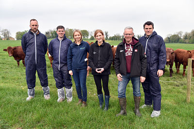"Speakers at the ""Grazing for Growth"" beef farm walk:  (from left) Barry McIlnerney (AFBI, Stormont), Francis Lively (AFBI, Hillsborough), Elizabeth Earle (AgriSearch), Suzanne Higgins (AFBI, Newforge), John Egerton (Host Farmer) and Francis Breen (CAFRE)."