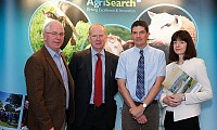 Drew McConnell (Chair AgriSearch Dairy Advisory Committee), Dr Sinclair Mayne (Deputy CEO AFBI), Dr Conrad Ferris (Head of Sustainable Dairy Systems AFBI) and Colette McMaster (Director for Food, Farm and Rural Policy Division DARD)