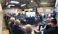 "Sam Boon (AHDB) speaking to a packed turnout at the recent ""Breeding for Performance"" event in Draperstown Livestock Market."
