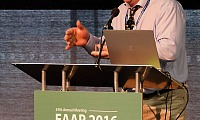 Drew McConnell, Chair of AgriSearch, Dairy Advisory Committee speaking at EAAP 2016 in the Waterfront, Belfast. AgriSearch sponsored the session on Using on-farm research and the multi-actor approach to boost effectiveness of knowledge exchange. Photograph: Columba O'Hare