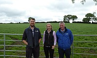 Henry Stewart (Host Farmer), Elizabeth Earle (AgriSearch) and Gavin Duffy (CAFRE)