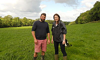 Host farmer Ian McClelland with Dr Debbie McConnell from AFBI discussing plans for the Dairy Innovation in Practice farm walks taking place on 12 -14 September.