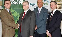 Tony O'Neill, Chairman, Agri-Food Strategy Board welcomes Dr Steven Morrison, left, Livestock Improvement Project Manager; to his new post while looking on are James Campbell, Chairman, AgriSearch; and Ian Marshall, Chairman, Livestock Genetics sub group, AFSB. Photograph: Columba O'Hare