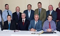 The AgriSearch Board of Trustees at their AGM, front from left, Ian Marshall, Michael Bell, Allistir Mitchell, chairman James Campbell, company secretary Jason Rankin and John Henning. Standing, from left, Oisin Murnion, Mervyn King, Wilbert Mayne, Henry Jordan, John Martin, Phelim O'Neill and William Hanna.  Photograph: Columba O'Hare