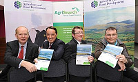 AgriSearch PhD Student Alistair Boyle with Dr Sinlair Mayne (DARD Scientific Advisor), Mark Brown (DARD Deputy Secretary) and Jason Rankin (AgriSearch Project Officer)